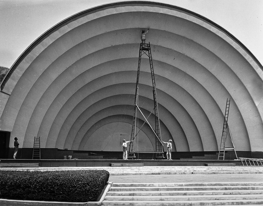 July 5, 1935: The Hollywood Bowl shell gets a new coat of paint for the first time in three years. M