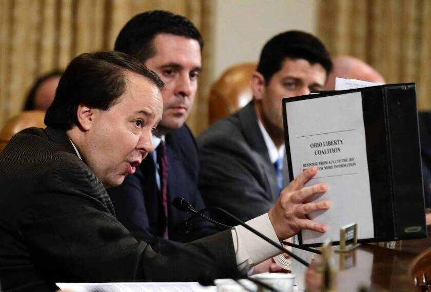 """Rep. Devin Nunes (R-Tulare), center, is in the spotlight for using the term """"lemmings with suicide vests"""" to describe Republican colleagues willing to shut down the government over Obamacare."""
