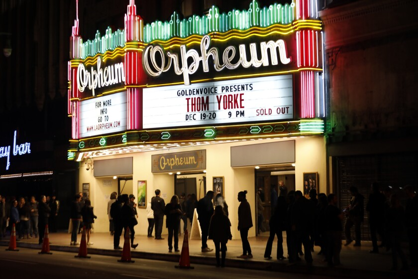 LOS ANGELES, CALIFORNIA--DEC. 19, 2018--Thom Yorke performs at the Orpheum Theater on Dec. 19, 2018.