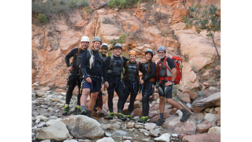 The seven canyoneers who were overtaken by a flash flood have been identified. From left, Gary Favela, Don Teichner, Muku Reynolds, Steve Arthur, Linda Arthur, Robin Brum and Mark MacKenzie. (National Park Service)