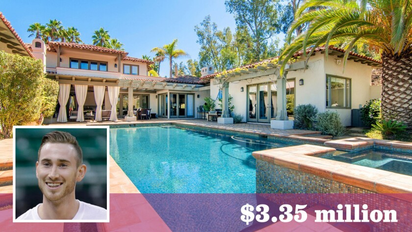 Utah Jazz forward Gordon Hayward has paid $3.35 million for a two-plus-acre estate with a pool and tennis court in Rancho Santa Fe's Fairbanks Ranch community.