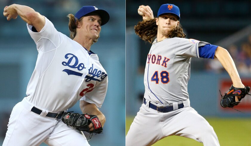 Dodgers' Zack Greinke, left, and New York Mets' Jacob deGrom will face off on Thursday.