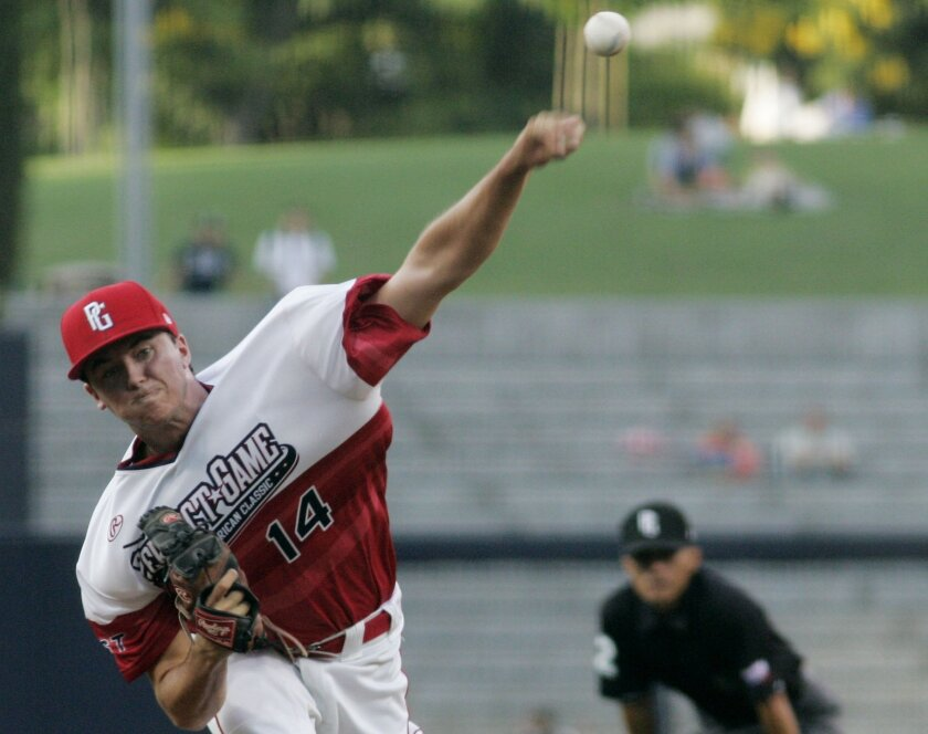 Ian Clarkin of Madison High pitches the second inning of the Perfect Game All-American Classic at Petco Park.