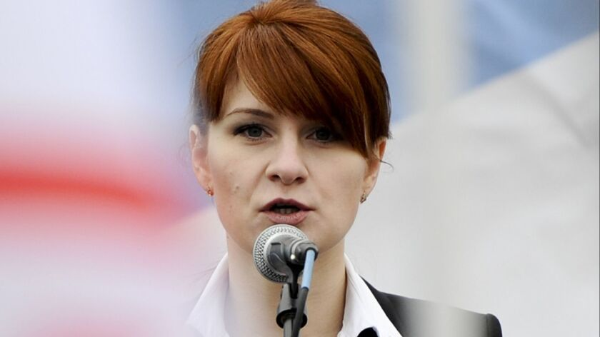 Maria Butina speaks to a crowd during a rally in support of legalizing the possession of handguns in Moscow on April 21, 2013.