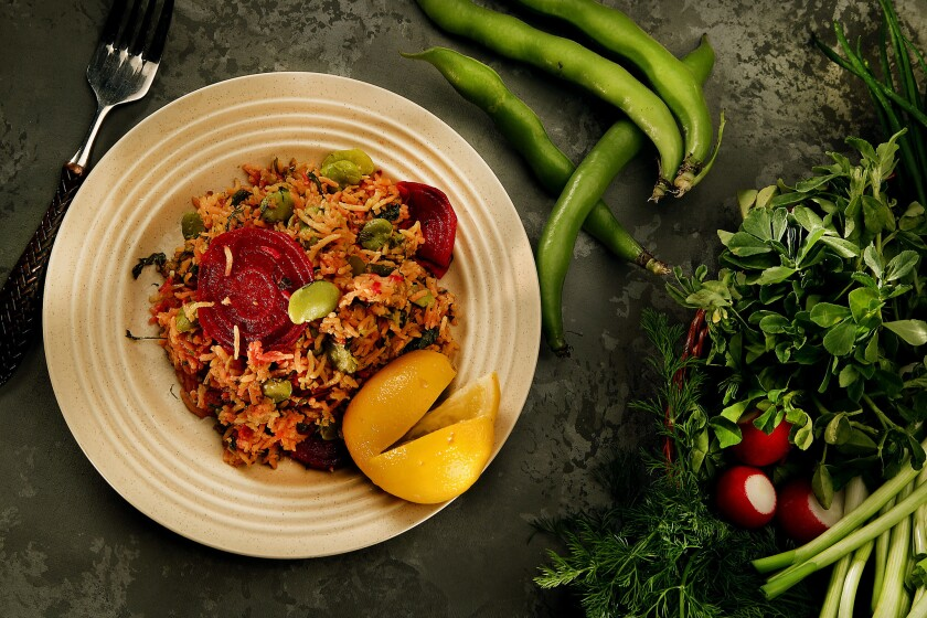 Recipe:  Gondi kashi rice with turkey, beets, fava beans and herbs