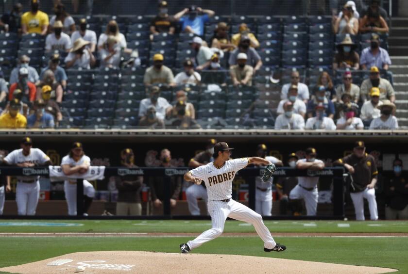 San Diego Padres pitcher Yu Darvish throws against the Arizona Diamondbacks