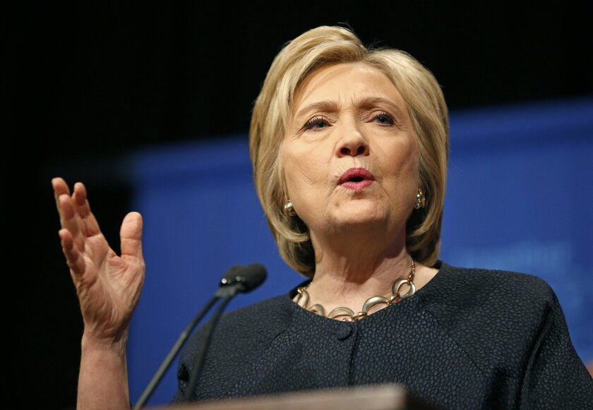 Democratic presidential candidate Hillary Clinton speaks at a United Food and Commercial Workers International union Legislative and Political Affairs conference, Thursday, May 26, 2016, in Las Vegas. Clinton was supposed to have turned over all work-related emails to the State Department to be rel