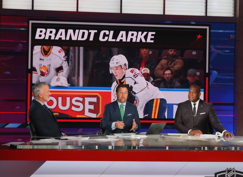 NHL Network announcers discuss the Kings' selection of Brandt Clarke with the eighth overall pick in the 2021 NHL draft.