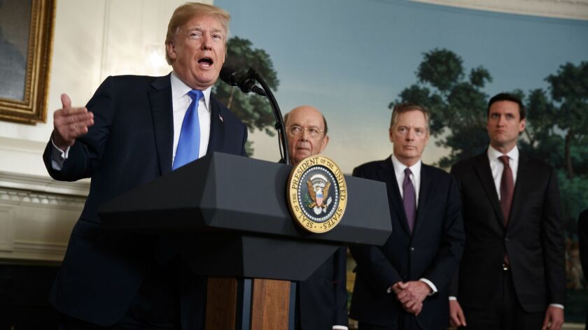 Donald Trump, Tom Bossert, Robert Lighthizer, WIlbur Ross