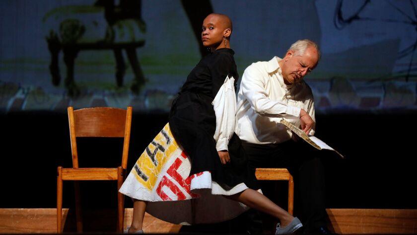 LOS ANGELES, CALIF. -- THURSDAY, NOVEMBER 16, 2017: Dada Masilo, dancer, left, and William Kentridge