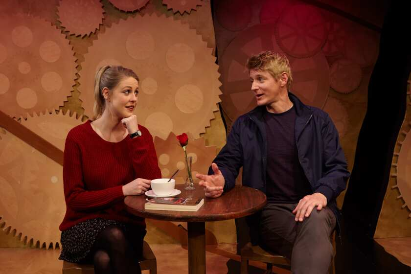 "Noelle Marion and Christian Pedersen in North Coast Rep's production of ""All in the Timing."""