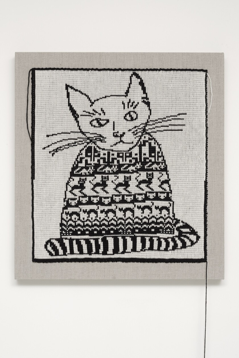 "Lisa Anne Auerbach's artistic practice straddles the line between knitting, photography, painting and writing. Seen here, a detail from ""Cat in a Sweater,"" from 2014."