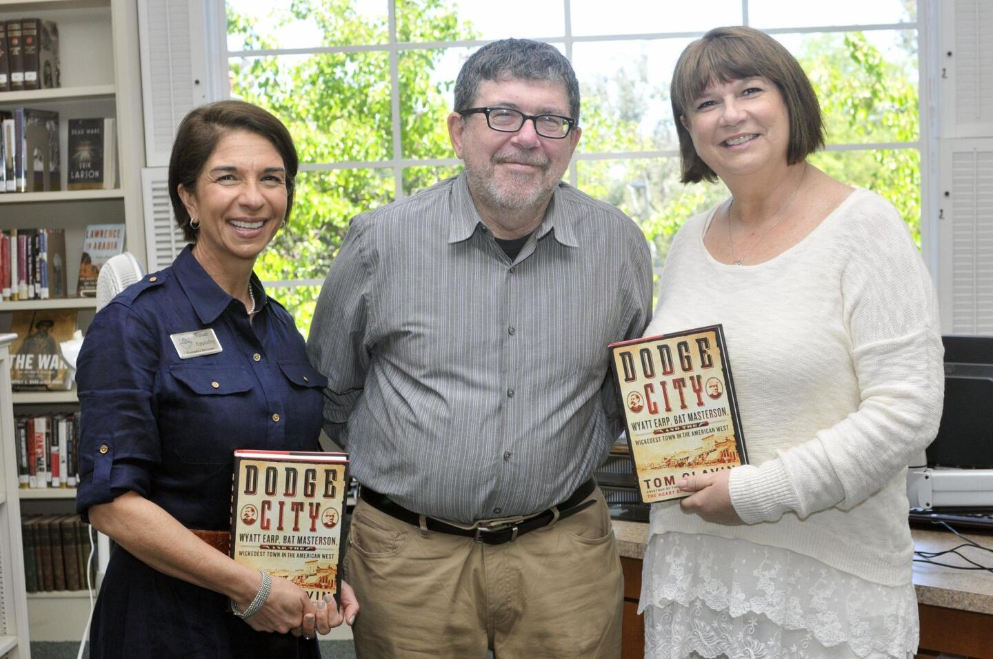 RSF Library Guild Executive Director Susan Appleby, author and guest speaker Tom Clavin, Warwick's Director of Events Julie Slavinsky