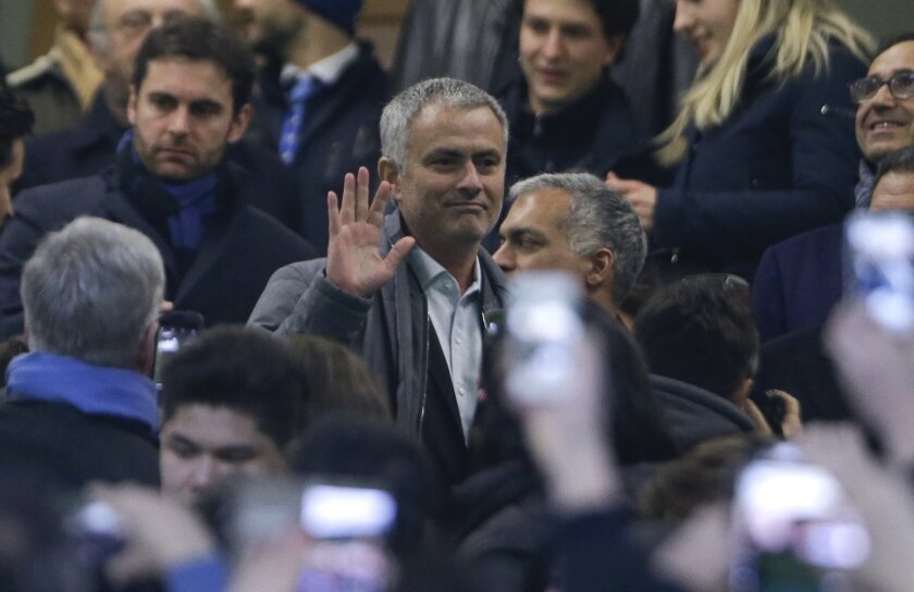Jose Mourinho waves as he gets to the stands prior to a Serie A soccer match between Inter Milan and Sampdoria, at the Milan San Siro stadium, Italy, Saturday, Feb. 20, 2016. (AP Photo/Antonio Calanni)