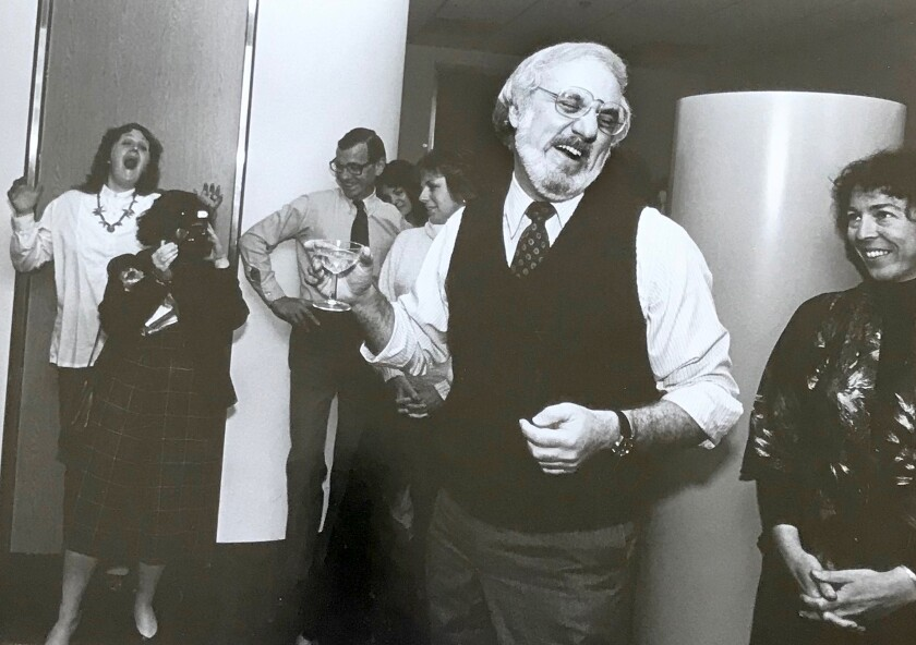 Martin Bernheimer celebrates his 1982 Pulitzer Prize win at the Los Angeles Times offices.