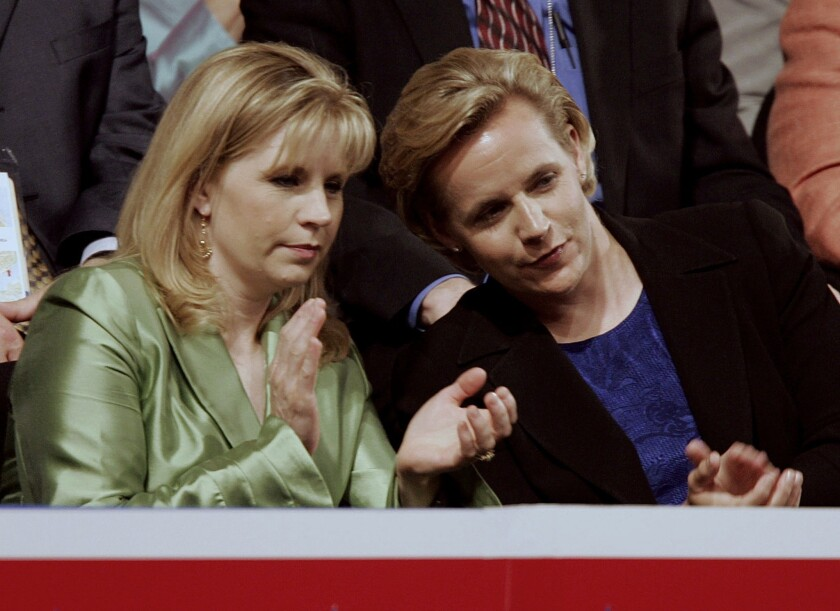 Liz Cheney, left, and Mary Cheney at the Republican National Convention at Madison Square Garden in New York City in 2004.