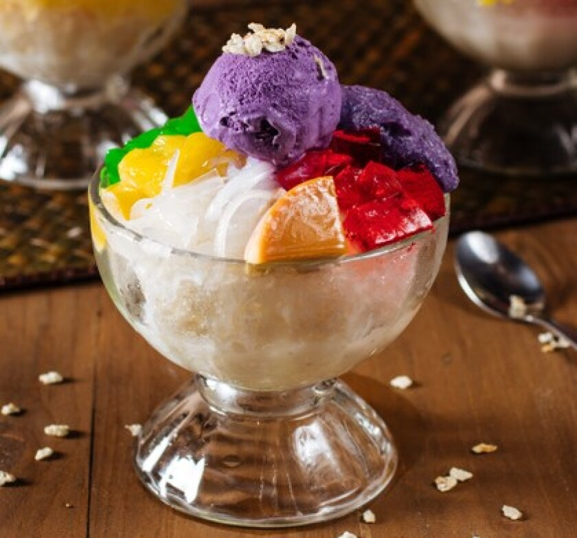 Colorful halo halo from Gerry's Grill, at Westfield Plaza Bonita, is a Filipino signature dessert.
