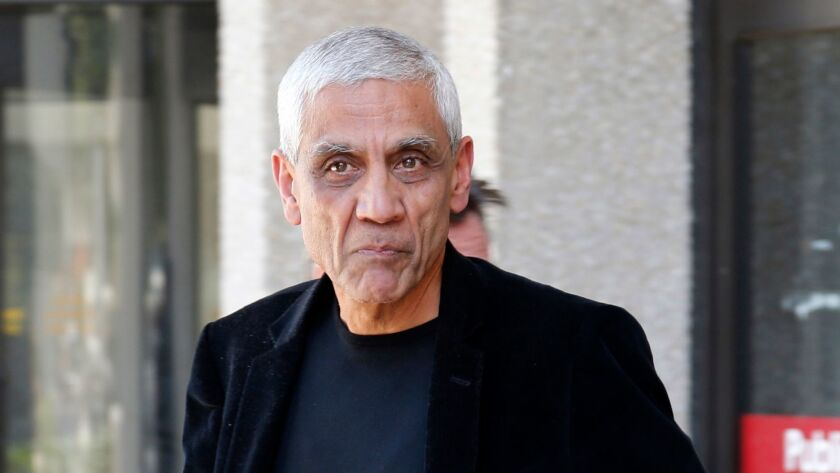 FILE - In this May 12, 2014, file photo, Sun Microsystems co-founder Vinod Khosla leaves San Mateo