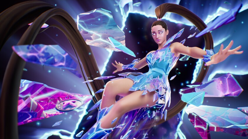 An animated image of a woman with a long, brunet ponytail, surrounded by shattered glass