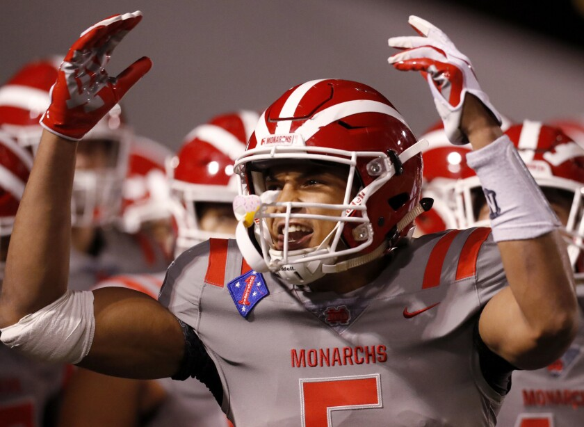 Bru McCoy gets his teammates fired up during a game last season.