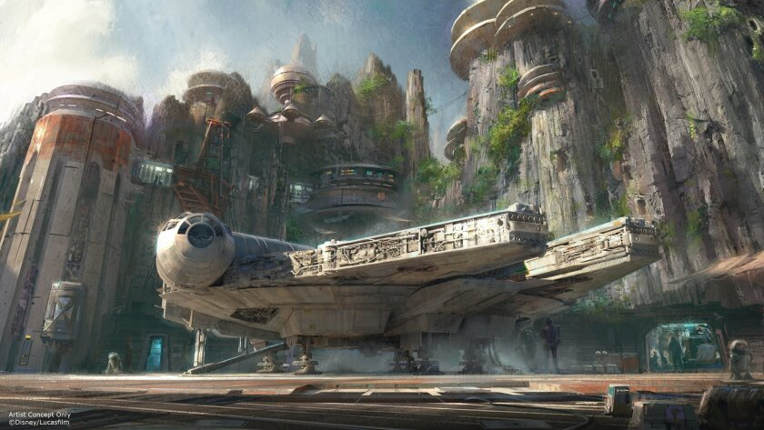 """Han Solo's Millennium Falcon is to be the centerpiece of a """"Star Wars"""" land attraction that allows visitors to pilot the iconic starship in some new adventure."""