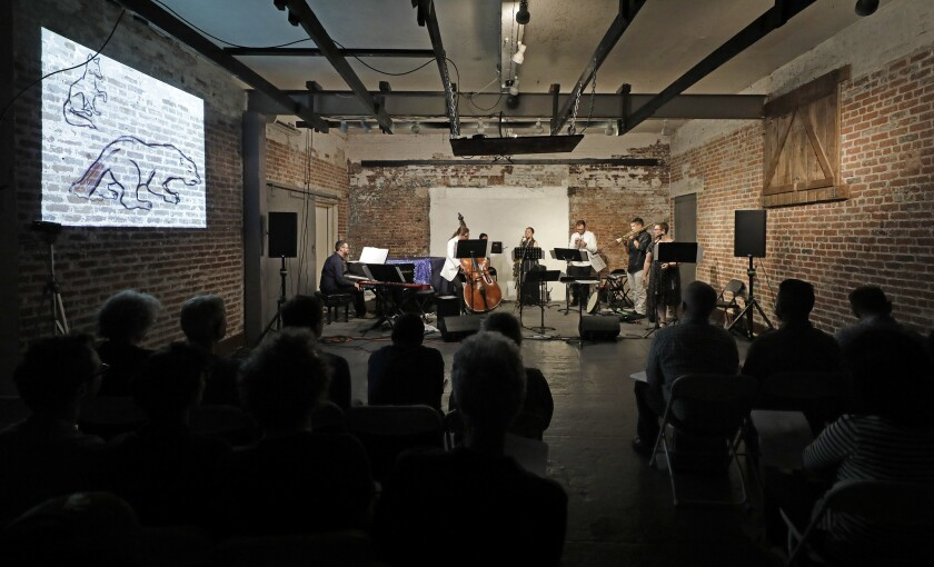 """L.A. Signal Lab performs the """"Why Bear Has No Tail"""" section from """"URSA: an interstellar cantata"""" at its premiere Tuesday night at Monk Space."""