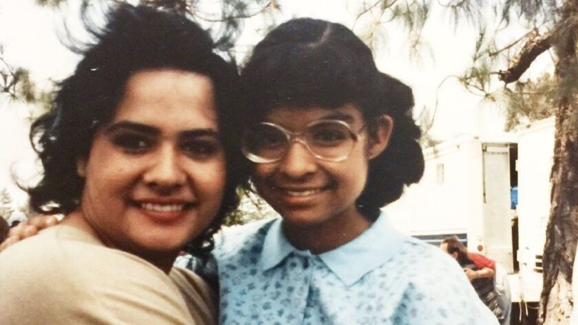 "Costars Ingrid Oliu and the late Vanessa Marquez on the set of ""Stand and Deliver"" in 1986."