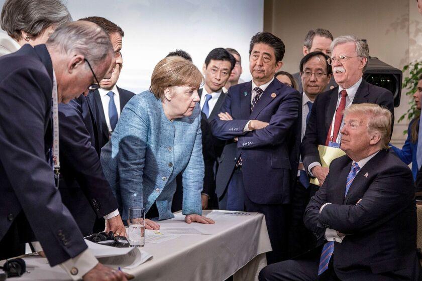 German Chancellor Angela Merkel and President Trump clash at 2018 G-7 summit