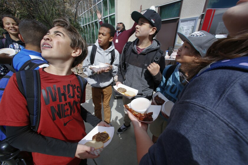 Eastlake Middle School in Chula Vista launched the new lunch option, the bbq station. Students select an entree, either baby back ribs, a hotdog or a hamburger along with 2 side items, and a vegetable or fruit, along with a beverage for 2.70