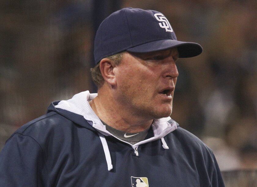 Padres interim manager Pat Murphy reacts to the call that Justin Upton was out on a steal attempt at second base in the fourth inning during the Padres game against the Giants at Petco Park in San Diego on Tuesday.