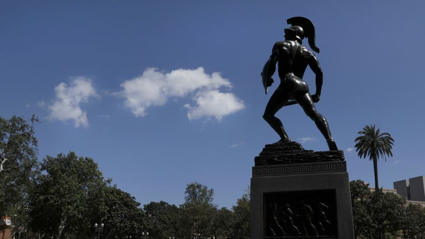 LOS ANGELES, CA-MAY 17, 2018: Tommy Trojan, officially known as the Trojan Shrine, is a life-size b