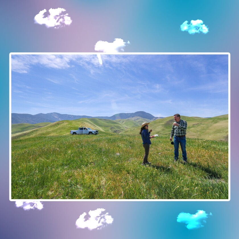 A man and a woman stand in a meadow with hills in the background.