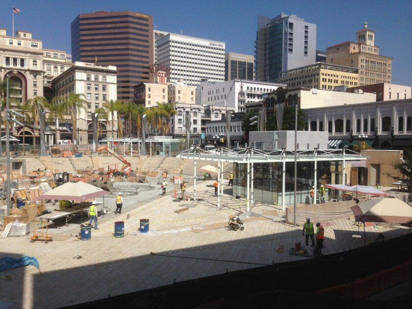 Construction nears completion at Horton Plaza Park where a new amphitheater and retail kiosks will be added to the historic park.