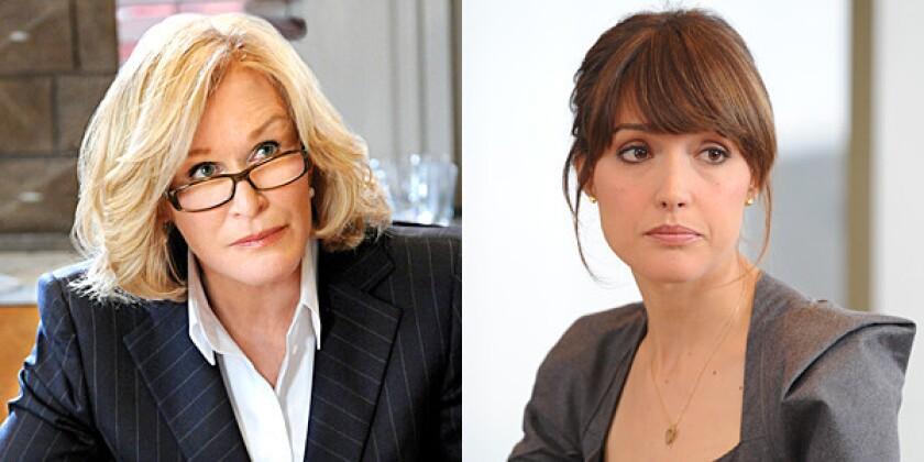 Glenn Close's attorney is mentor and sometime adversary. While Rose Byrne's attorney has been protegé, victim and combatant.
