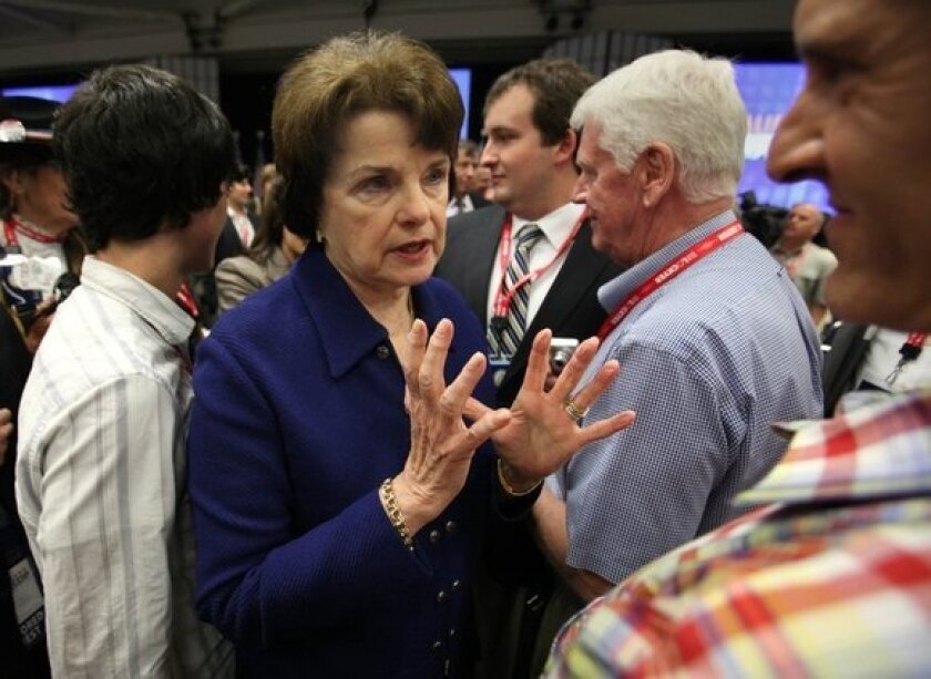 Sen. Dianne Feinstein talks to well-wishers after her speech at the California Democrats State Convention in Sacramento on April 30.