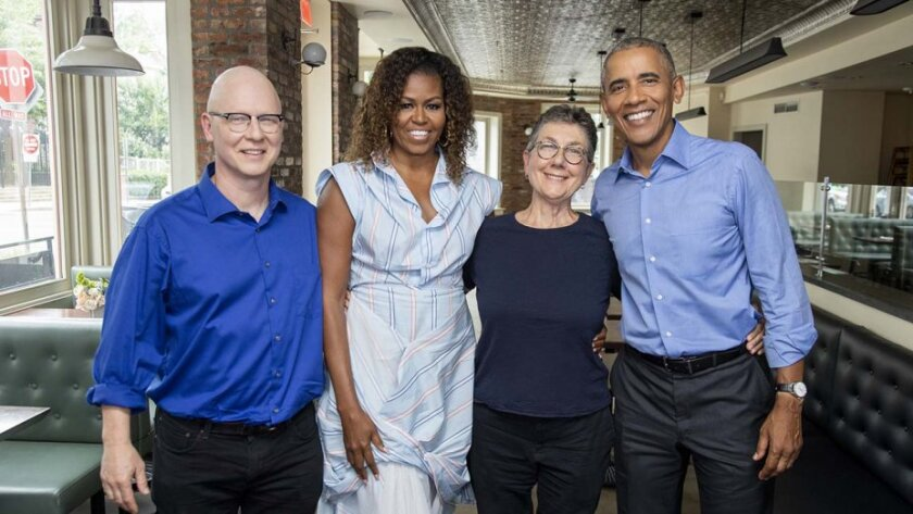 'American Factory' directors Steven Bognar and Julia Reichert with Michelle and Barack Obama