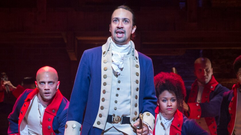 "Lin-Manuel Miranda portrays Alexander Hamilton in ""Hamilton"" at the Richard Rodgers Theater in New York on July 11, 2015."