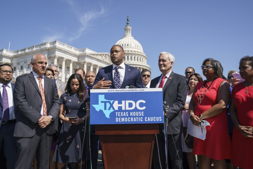 U.S. Rep. Marc Veasey (D-Texas), center, speaks at the U.S. Capitol on Tuesday.