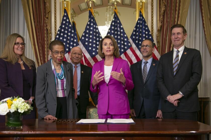 House Speaker Nancy Pelosi and fellow Democrats.