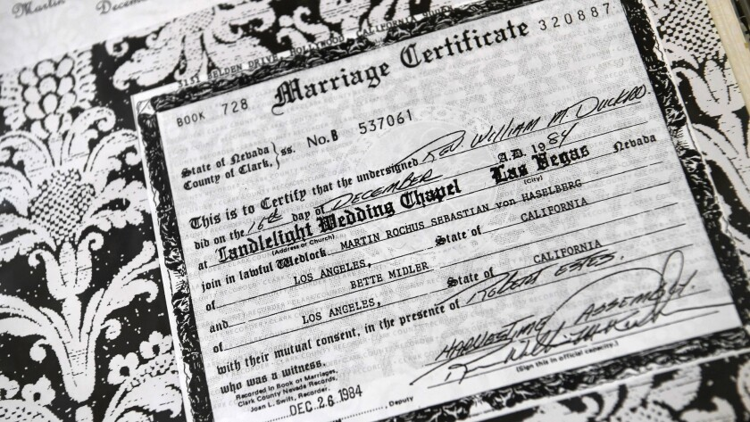 A copy of Bette Midler's marriage certificate is seen in the Candlelight Wedding Chapel where she wa
