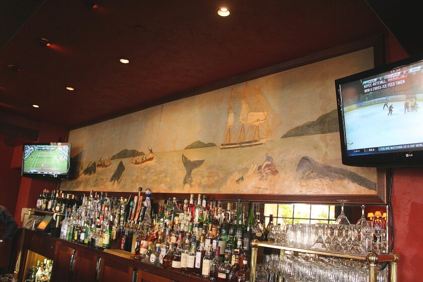 Painter Wing Howard's sizable whale mural hung at La Valencia Hotel's Whaling Bar before La Jolla's iconic watering hole closed permanently in February 2013 for major renovations and re-opened as Cafe La Rue.