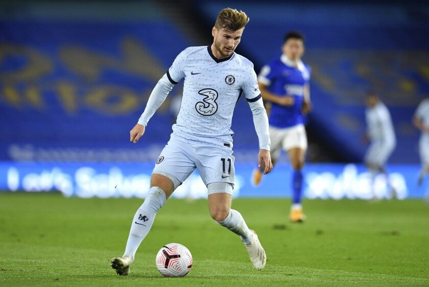 Chelsea's Timo Werner attempt to control the ball during the English Premier League soccer match between Brighton and Chelsea at Falmer Stadium in Brighton, England, Monday, Sept. 14, 2020. (Glynn Kirk/Pool via AP)