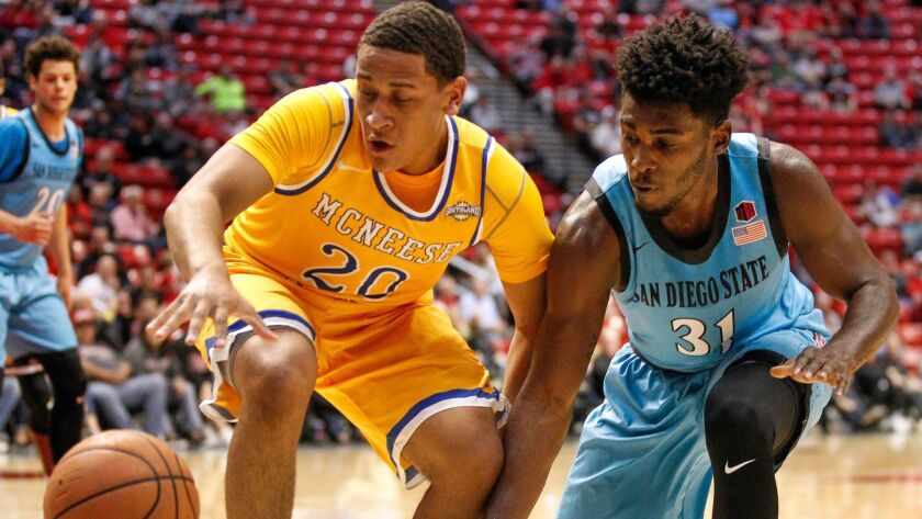 SAN DIEGO, November 17, 2017   The Aztecs' Montaque Gill-Caesar, right, and McNeese State's Kelvin H