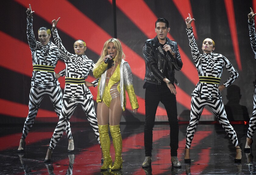 Britney Spears and G-Eazy perform onstage during the 2016 MTV Video Music Awards.