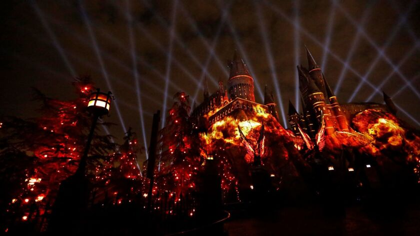 "UNIVERSAL CITY, CA - MAY 16, 2017 - ""The Nighttime Lights at Hogwarts TM Castle"" Gryffindor House im"
