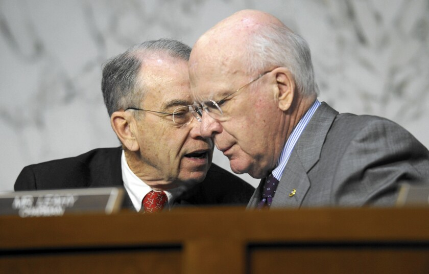 Sen. Charles E. Grassley (R-Iowa), left, and Sen. Patrick J. Leahy (D-Vt.), chairman of the Judiciary Committee, in 2013. Grassley is expected to become the first nonlawyer to be elected head of the panel.