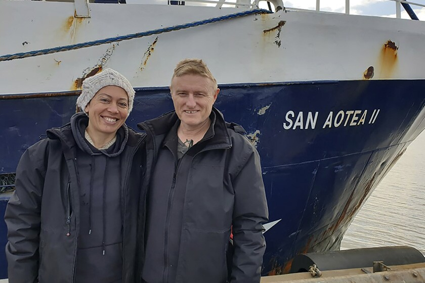 Feeonaa and Neville Clifton after a monthlong voyage on an Antarctic fishing boat.