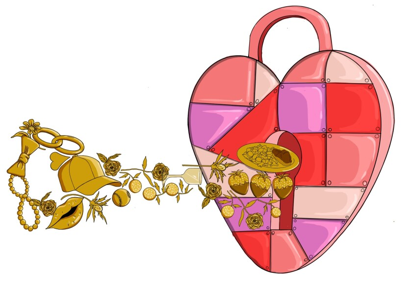 """Illustration of a heart-shaped lock, and the """"secrets"""" to opening it, including flowers, a baseball cap and kisses."""