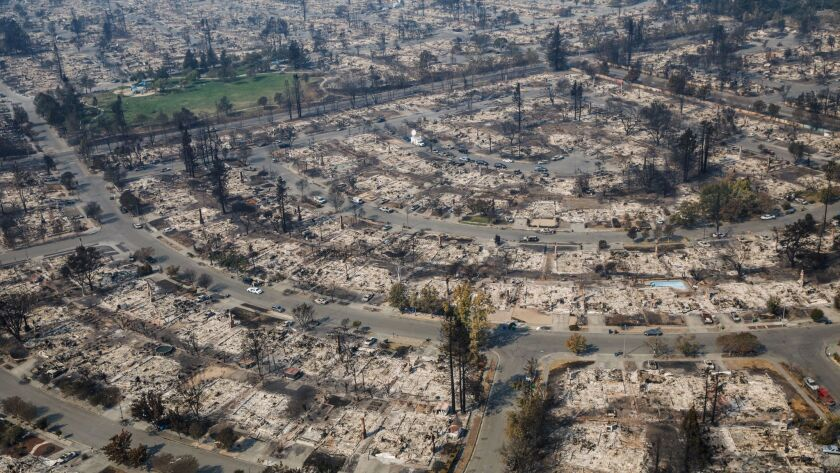 Aerial view of the Coffey Park neighborhood in Santa Rosa, Calif., on Oct. 11.