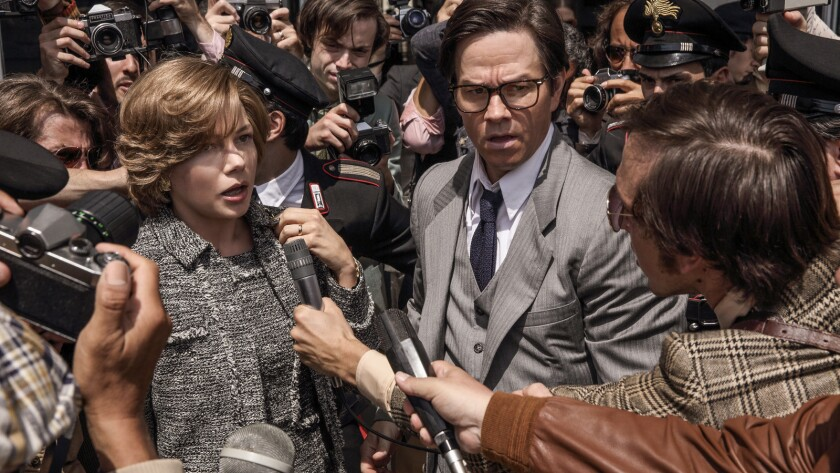 """Michelle Williams and Mark Wahlberg in the movie """"All the Money in the World."""""""